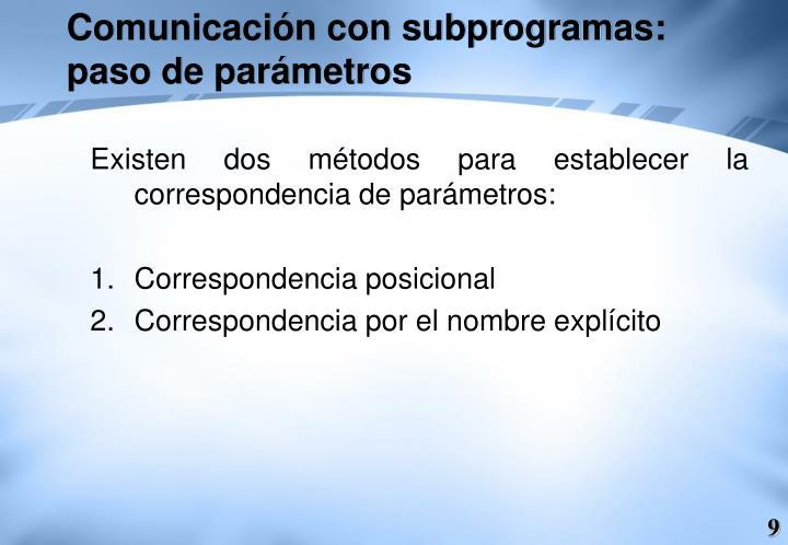 Comunicación con subprogramas: paso de parámetros