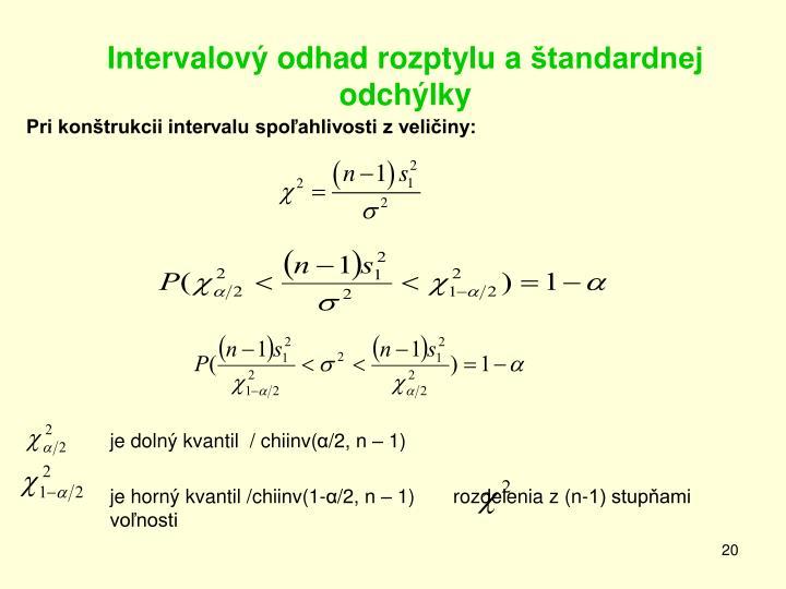 Intervalový odhad rozptylu aštandardnej odchýlky