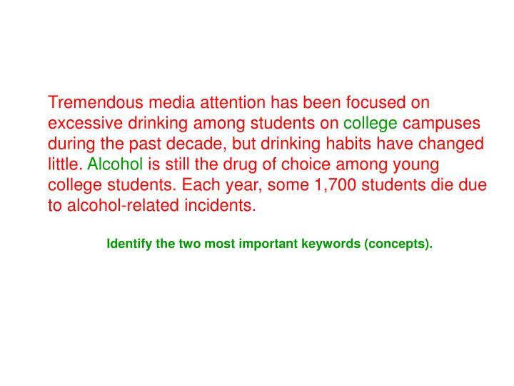 Tremendous media attention has been focused on excessive drinking among students on