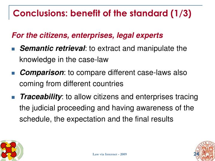 Conclusions: benefit of the standard (1/3)