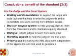 conclusions benefit of the standard 2 3
