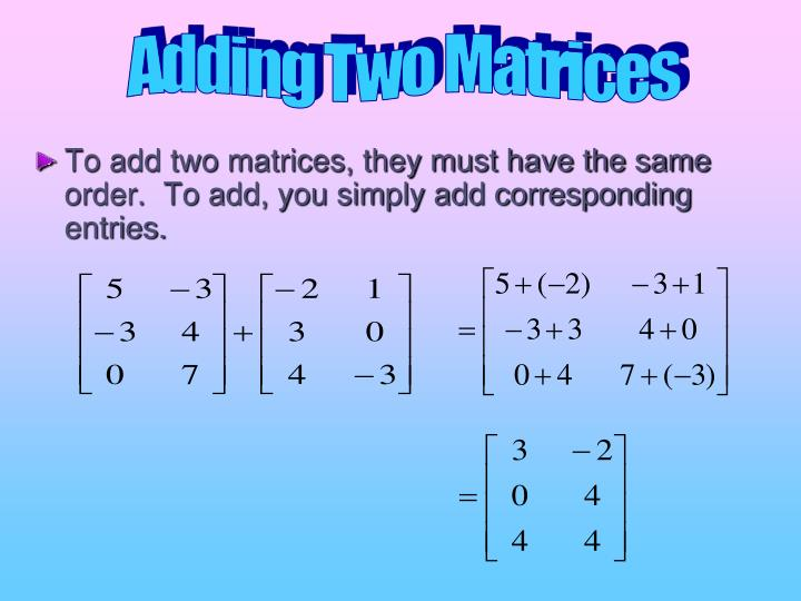 Adding Two Matrices