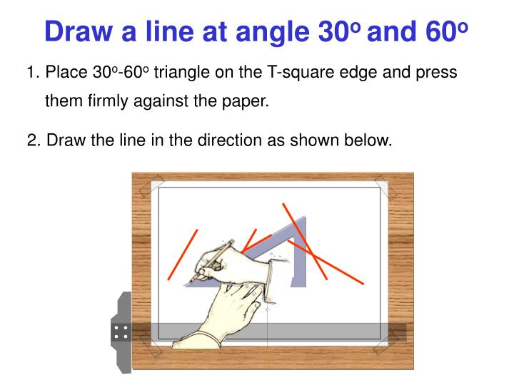 Draw a line at angle 30