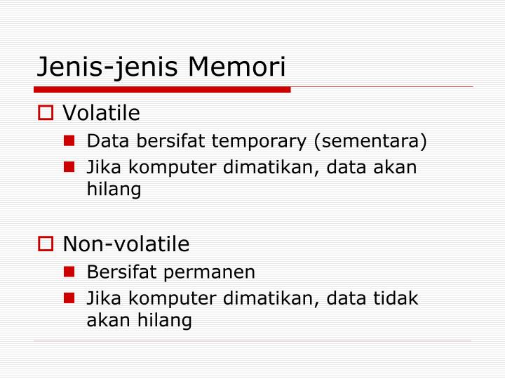 Jenis-jenis Memori