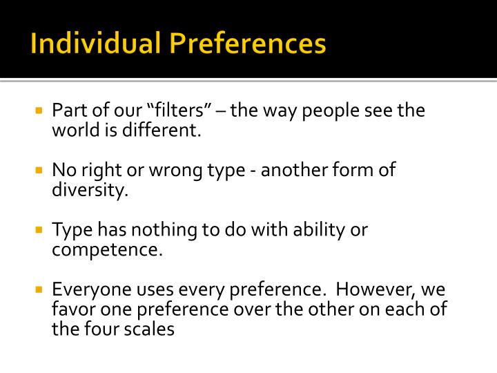 Individual Preferences
