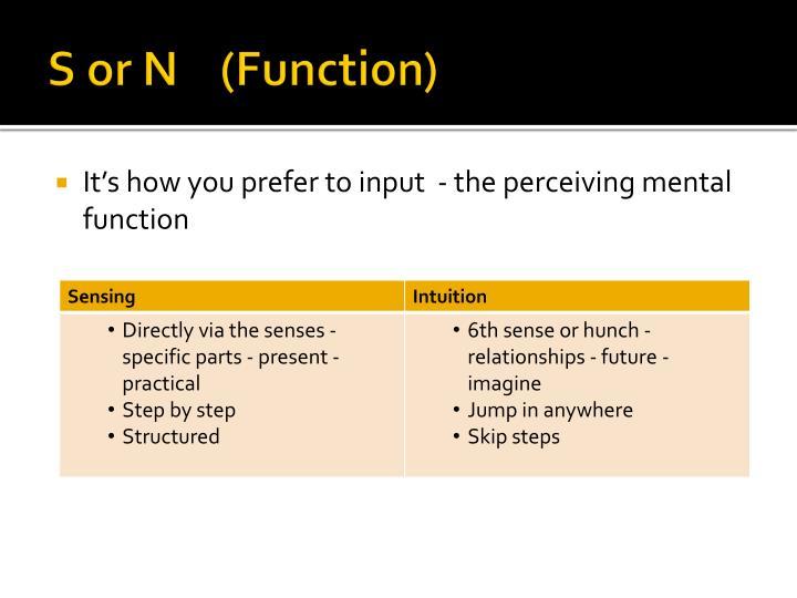 S or N    (Function)