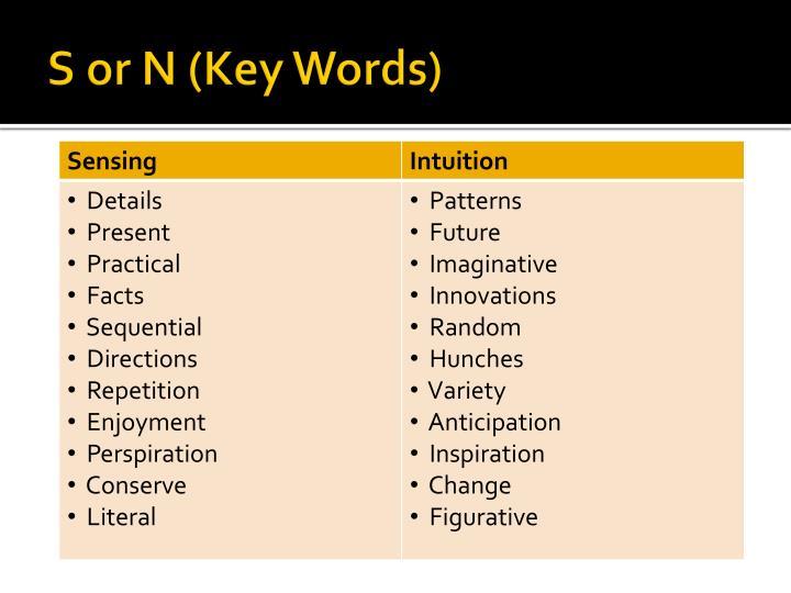 S or N (Key Words)