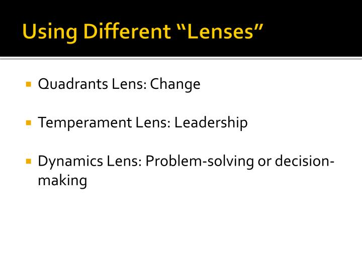 "Using Different ""Lenses"""