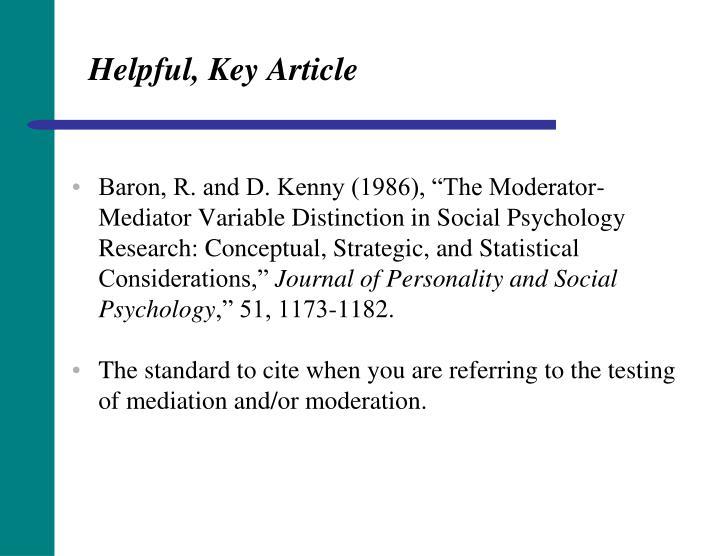 Helpful, Key Article