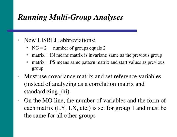 Running Multi-Group Analyses