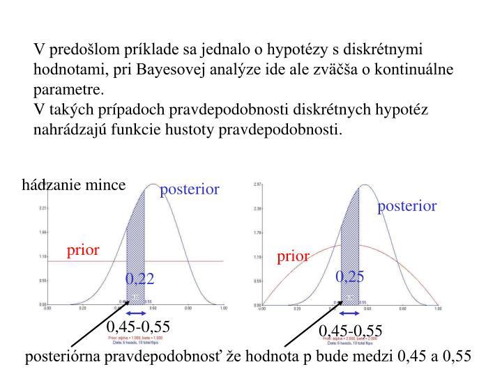 V predošlom príklade sa jednalo o hypotézy s diskrétnymi hodnotami, pri Bayesovej analýze ide ale zväčša o kontinuálne parametre.