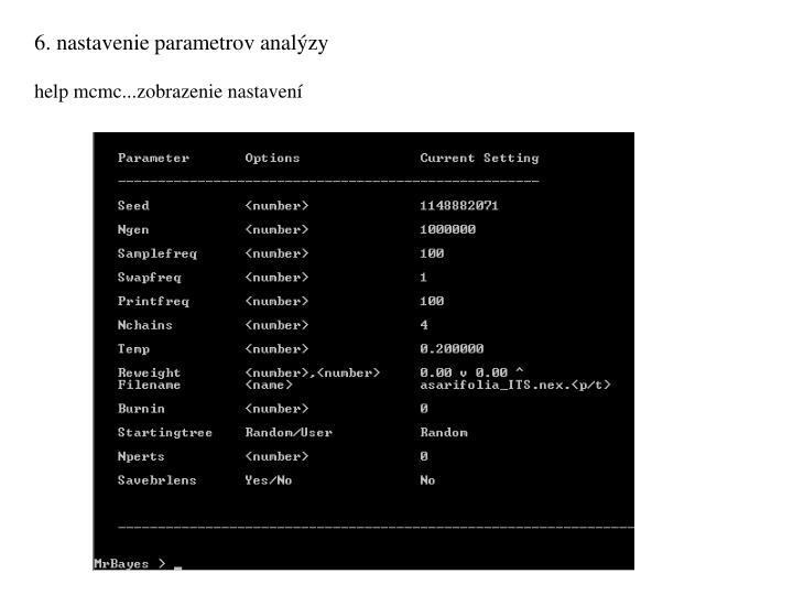 6. nastavenie parametrov analýzy