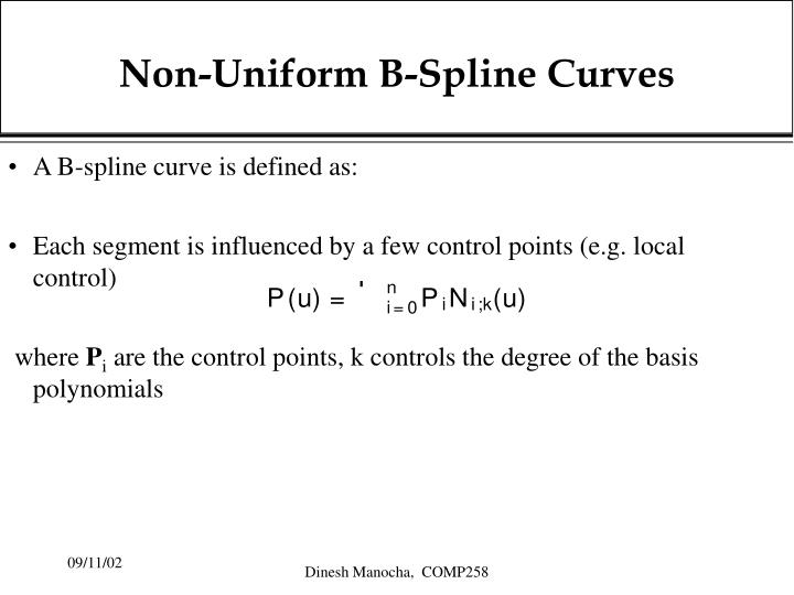 Non-Uniform B-Spline Curves