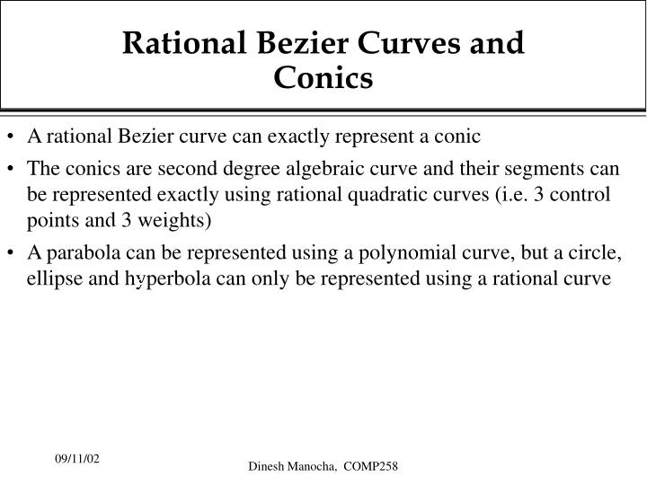 Rational Bezier Curves and Conics