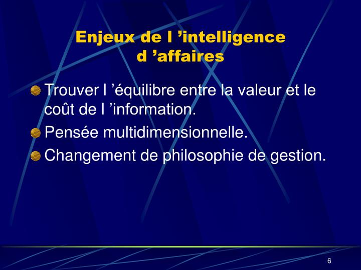Enjeux de l 'intelligence d 'affaires