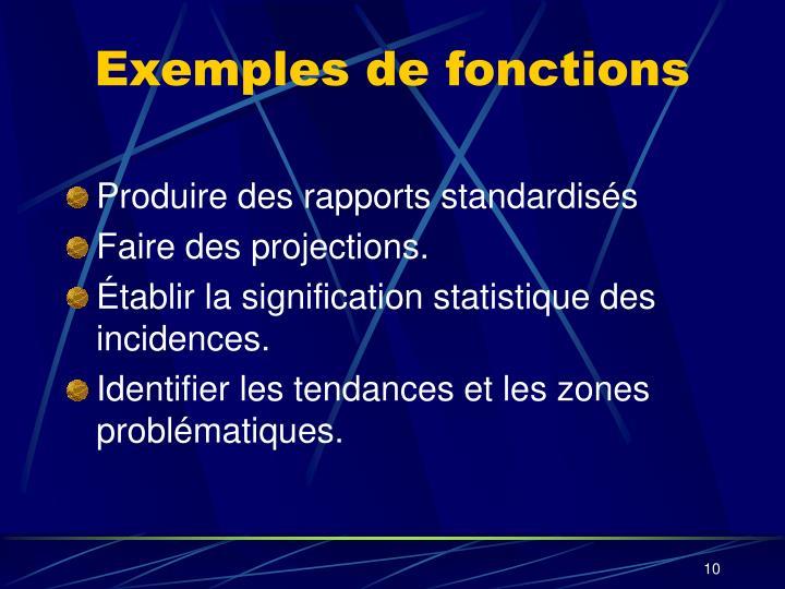 Exemples de fonctions