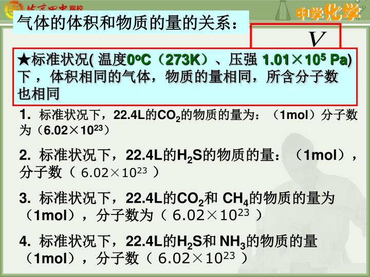 气体的体积和物质的量的关系: