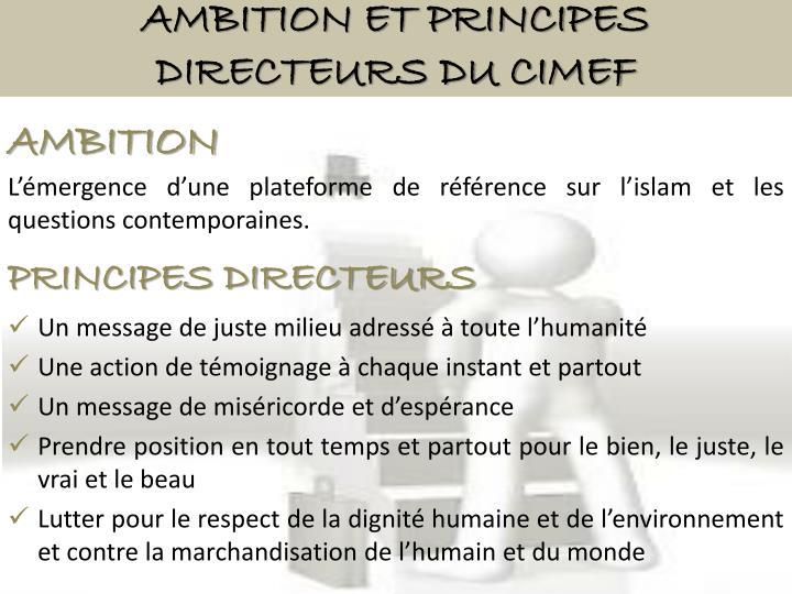 Ambition et Principes directeurs du CIMEF