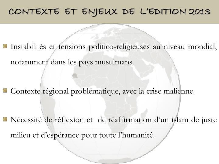 Contexte  ET  ENJEUX  DE  L'EDITION 2013