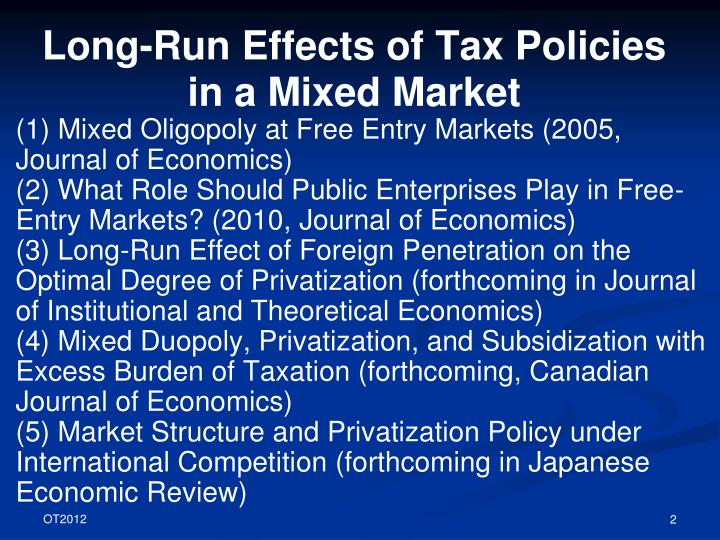 Long run effects of tax policies in a mixed market1