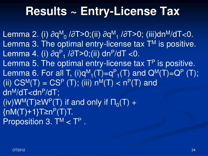 Results ~ Entry-License Tax