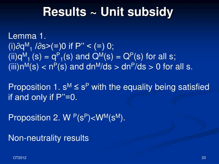 Results ~ Unit subsidy