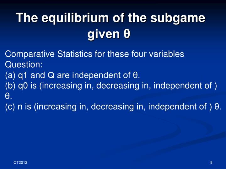 The equilibrium of the subgame given θ