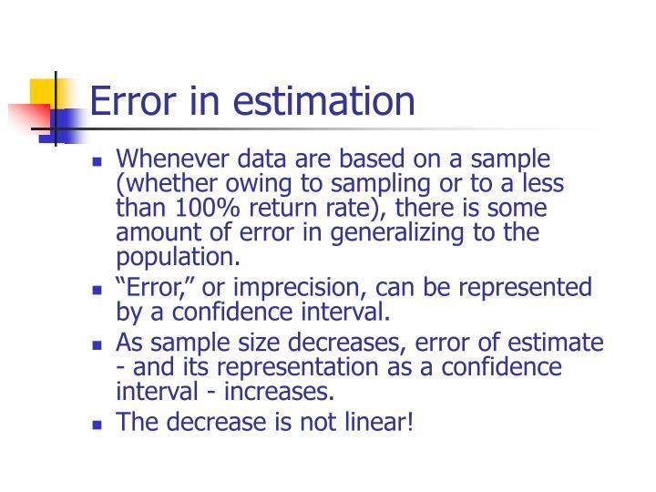 Error in estimation