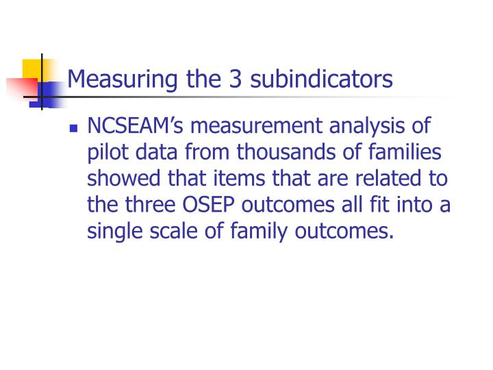 Measuring the 3 subindicators