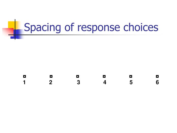 Spacing of response choices