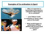 examples of co ordination in sport