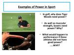 examples of power in sport