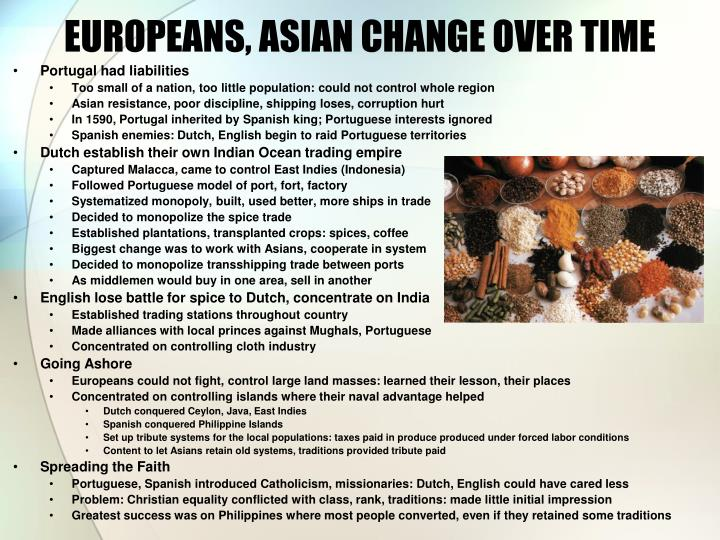 EUROPEANS, ASIAN CHANGE OVER TIME