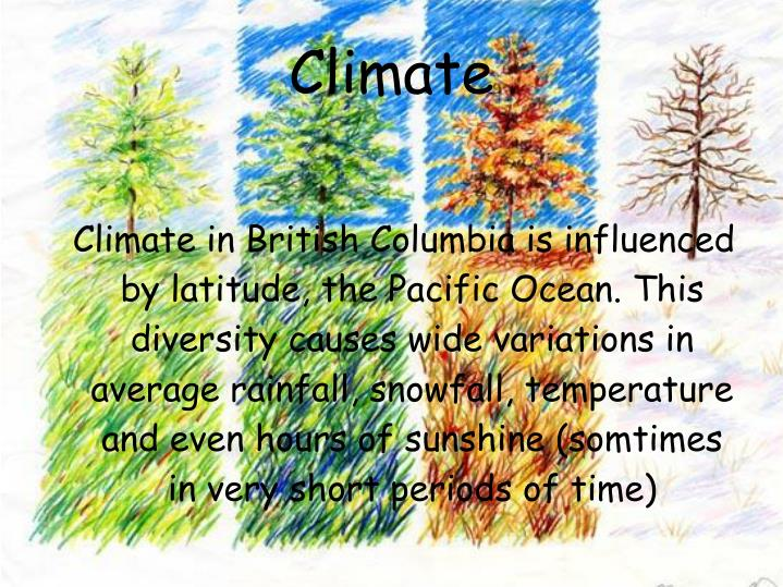 Climate in British Columbia is influenced by latitude, the Pacific Ocean. This diversity causes wide variations in average rainfall, snowfall, temperature and even hours of sunshine (somtimes in very short periods of time)