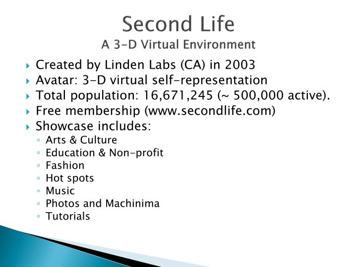 Second life a 3 d virtual environment