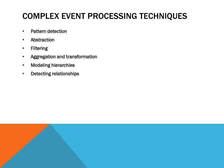 Complex event Processing techniques