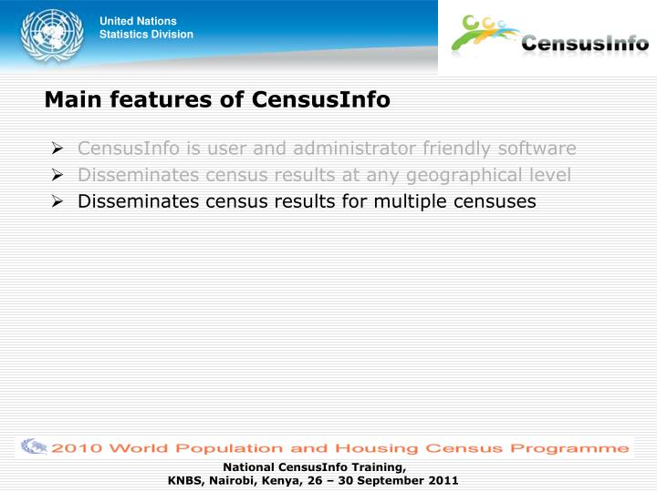 Main features of CensusInfo