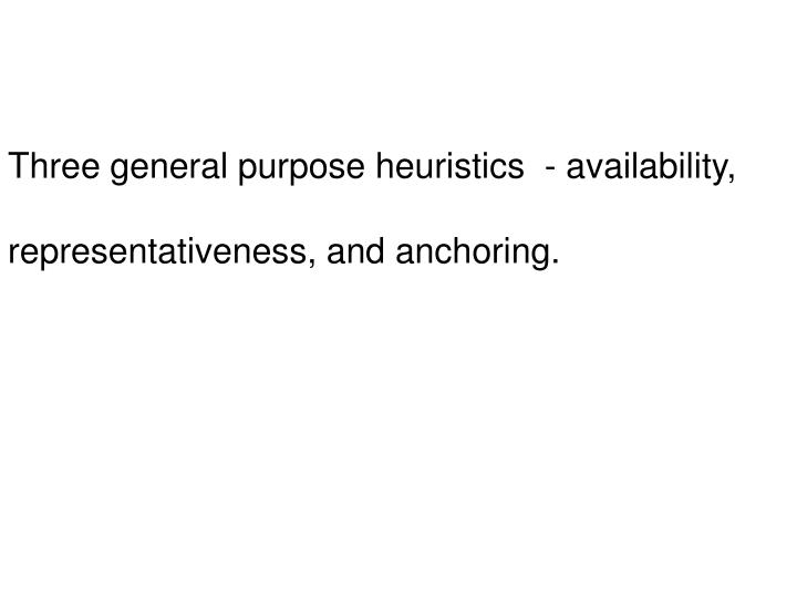 Three general purpose heuristics  - availability,