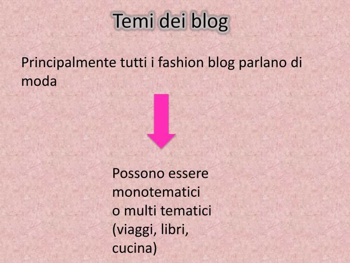 Temi dei blog