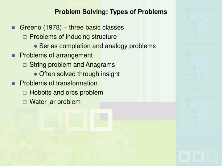 Problem Solving: Types of Problems