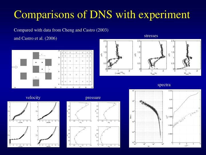 Comparisons of DNS with experiment