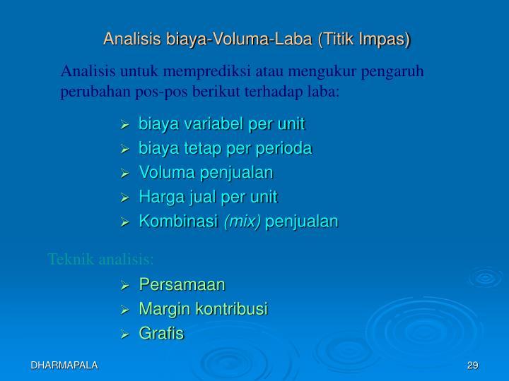Analisis biaya-Voluma-Laba (Titik Impas)