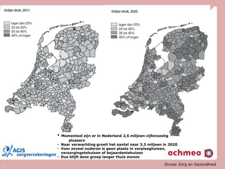 Momenteel zijn er in Nederland 2,5 miljoen vijfenzestig