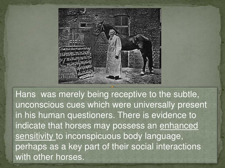 Hans  was merely being receptive to the subtle, unconscious cues which were universally present in his human questioners. There is evidence to indicate that horses may possess an