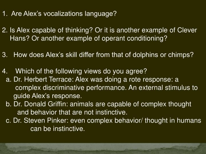 1.  Are Alex's vocalizations language?