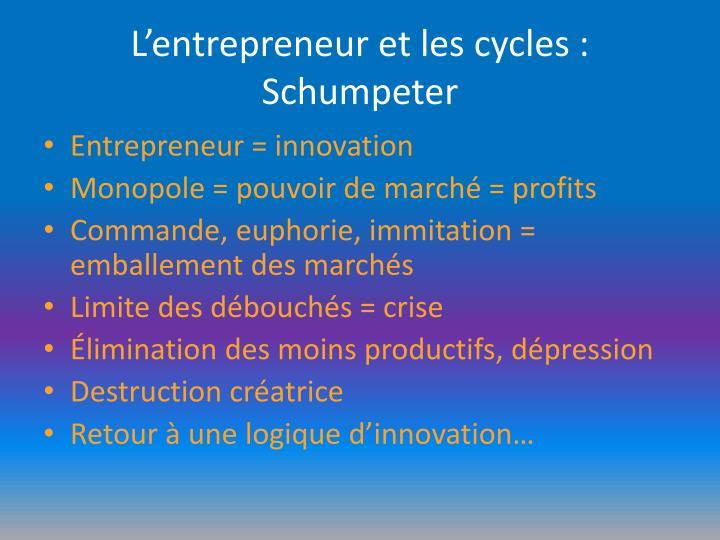 L'entrepreneur et les cycles : Schumpeter