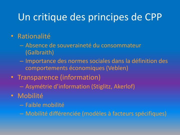 Un critique des principes de CPP