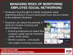 managing risks of monitoring employee social networking