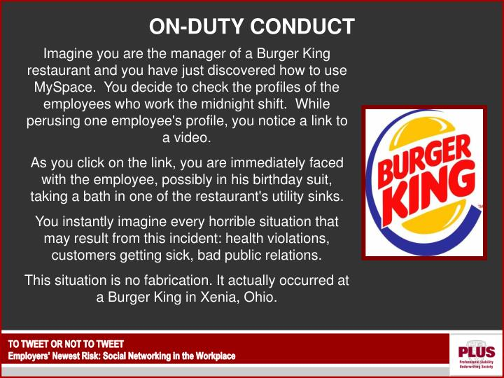 ON-DUTY CONDUCT