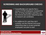 screening and background checks